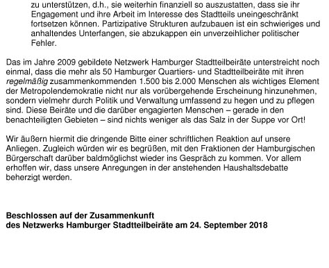 Verlautbarung Netzwerk Herbst 2018