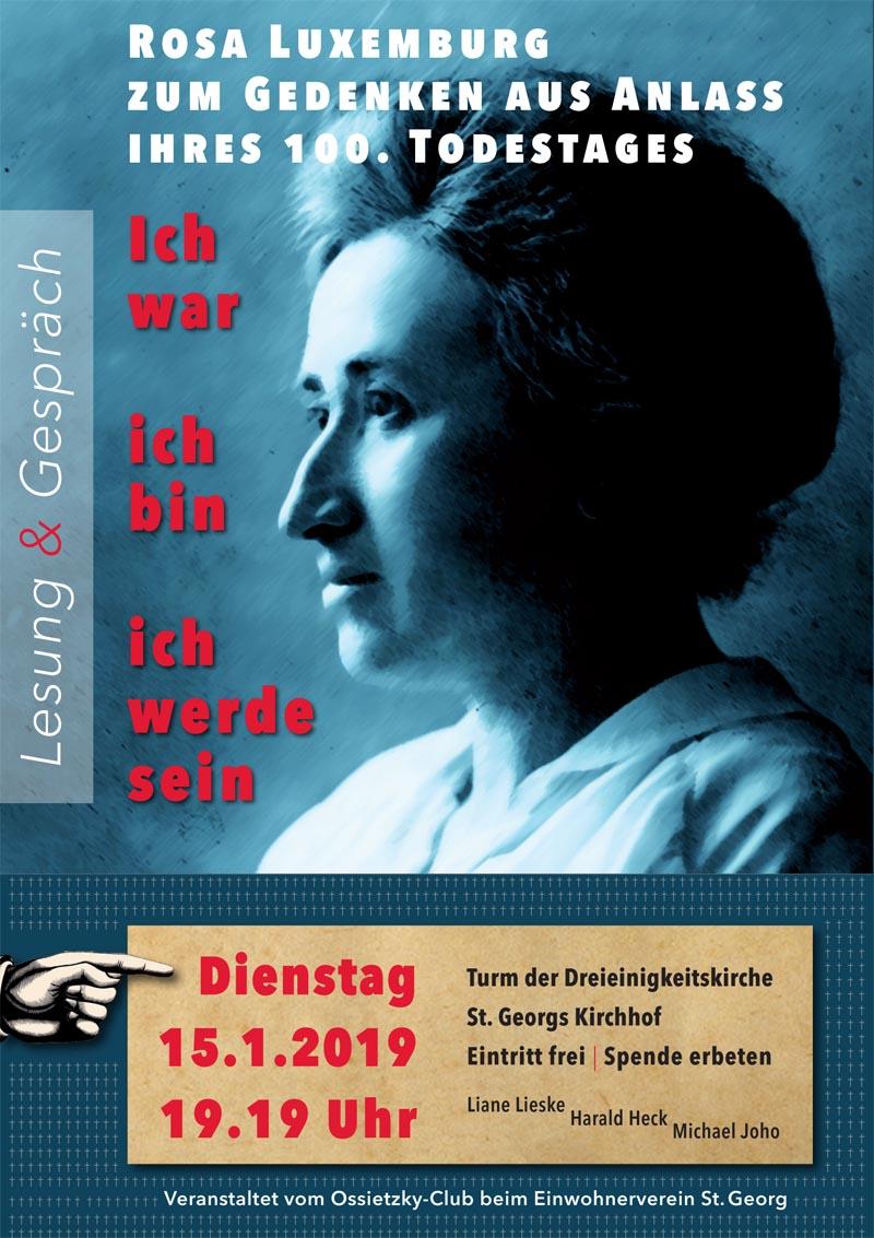 Veranstaltung der GW St. Georg zum 100. Todestag von Rosa L.